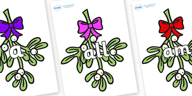 Foundation Stage 2 Keywords on Mistletoe (Bells) - FS2, CLL, keywords, Communication language and literacy,  Display, Key words, high frequency words, foundation stage literacy, DfES Letters and Sounds, Letters and Sounds, spelling