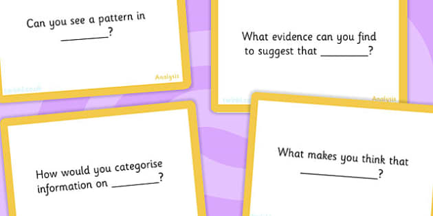 Bloom's Taxonomy Level 4 Analysing Challenge Cards - blooms