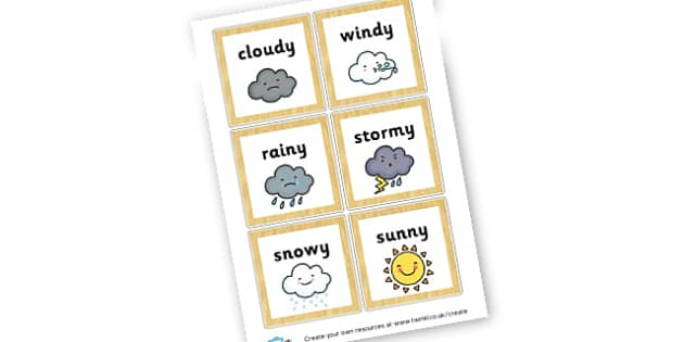 Weather Word Cards - Weather, Themed Signs and Labels, Rain, Sun, Primary Resources