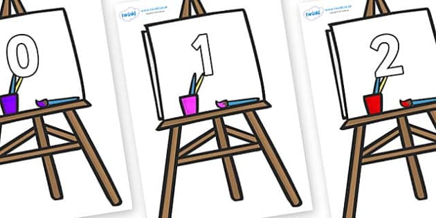 Numbers 0-31 on Easel - 0-31, foundation stage numeracy, Number recognition, Number flashcards, counting, number frieze, Display numbers, number posters
