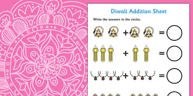 Diwali Addition Activity Sheet - diwali, addition, worksheet, diwali worksheet, addition worksheet, counting and addition, counting, numeracy, adding, plus