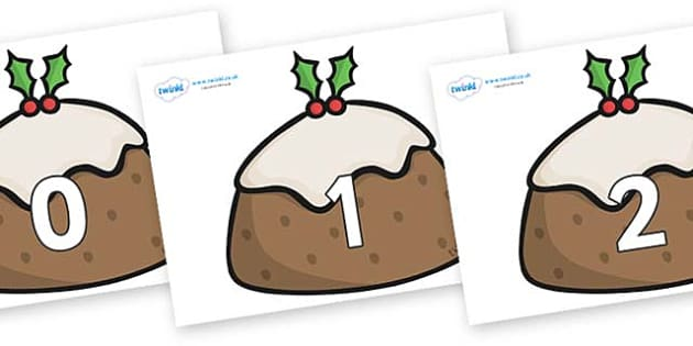 Numbers 0-31 on Christmas Puddings - 0-31, foundation stage numeracy, Number recognition, Number flashcards, counting, number frieze, Display numbers, number posters
