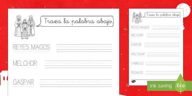 Traza las palabras:  Los Reyes Magos Ficha de actividad - Grafomotricidad, trazar con el lápiz, Reyes Magos, Navidad, ficha de actividad.,Spanish