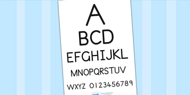 Doctors Surgery Eye Chart - role play, doctors role play, props