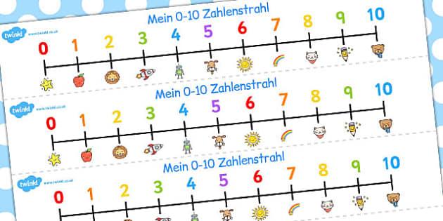 German Number Line 0-10 - german, number line, 0-10, number