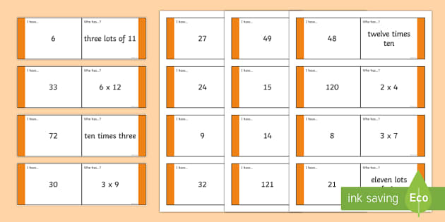 Times Table 1 To 2 Loop Cards 1 12 Times Table Loop Cards