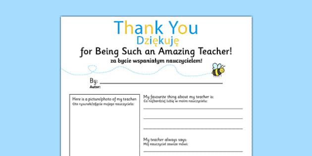 Teacher Thank You Letter Polish Translation - polish, teacher, thank you, letter, end of term, end of year