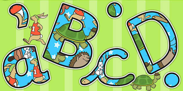 The Tortoise and The Hare Themed A4 Display Lettering - stories