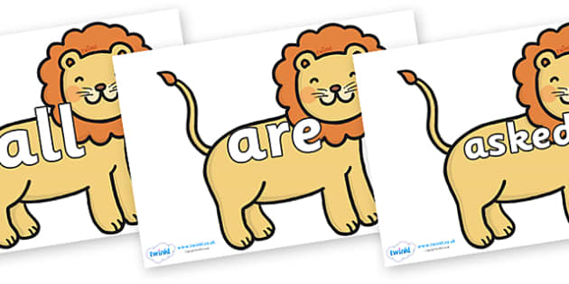 Tricky Words on Lions - Tricky words, DfES Letters and Sounds, Letters and sounds, display, words