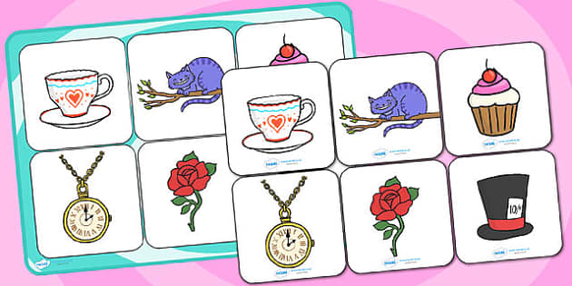 Alice in Wonderland Matching Cards and Board - alice in wonderland, alice in wonderland matching game, alice in wonderland image matching activity, sen