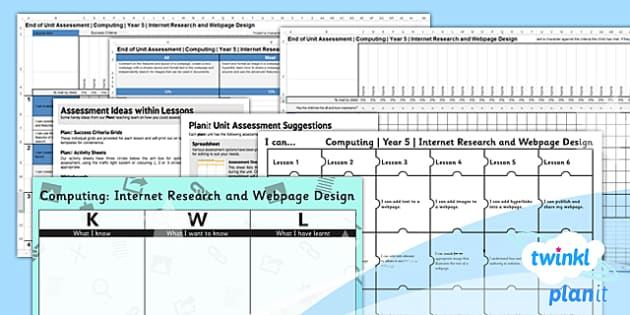 PlanIt - Computing Year 5 - Internet Research and Webpage Design Unit Assessment Pack - planit, computing