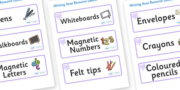 Lilac Themed Editable Writing Area Resource Labels - Themed writing resource labels, literacy area labels, writing area resources, Label template, Resource Label, Name Labels, Editable Labels, Drawer Labels, KS1 Labels, Foundation Labels, Foundation