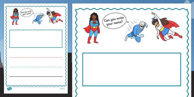 Superhero Themed Name Writing Worksheet Portrait - fun, inventive, characters, literacy, english, display, early years, ks1, ks2