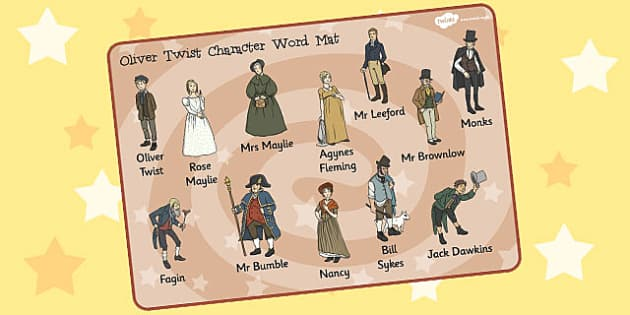 Oliver Twist Character Word Mat - oliver twist, character, word mat