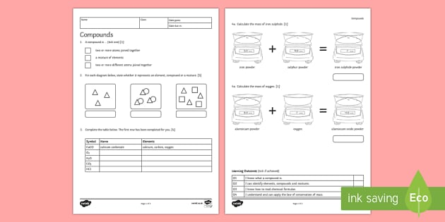 KS3 Compounds Homework Activity Sheet - Homework, compound, compounds, mixture, mixtures, element, elements, worksheet, conservation of mass