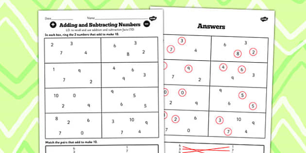 Number Facts to 20 Find Pairs to 10 Worksheet - number, facts