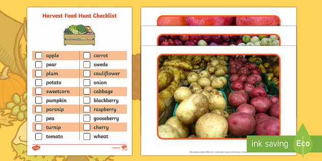 Harvest Food Hunt Checklist