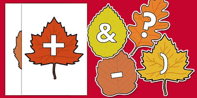 Symbols on Autumn Leaves - symbols, autumn, leaves, autumn leaves
