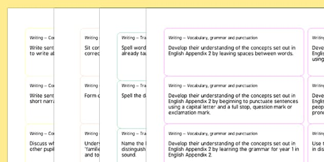 2014 Curriculum Year 1 English Writing Objectives on Sticker Template - curriculum, year 1, writing, objectives, sticker
