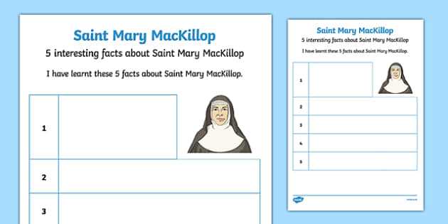 5 Facts About Saint Mary MacKillop Activity Sheet-Australia, worksheet