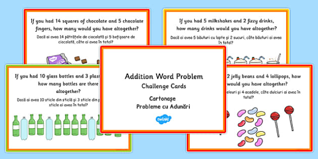 KS1 Addition Word Problem Challenge Cards Romanian Translation - romanian, ks1, addition, word problem, maths