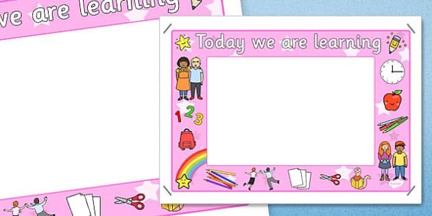 Today We Are Learning Display Sign Pink - display sign, pink