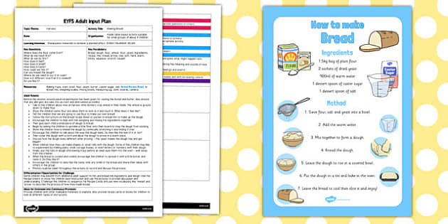 Making Bread EYFS Adult Input Plan and Resource Pack - cooking, food, planning, plan