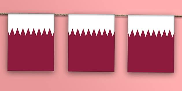 Qatar Flag Bunting - qatar flag, qatar, bunting, display bunting, display