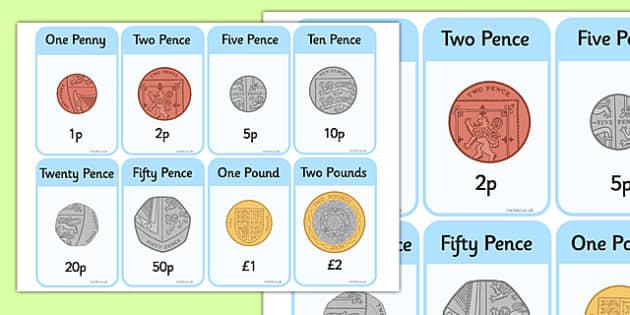 New British (UK) Coins Flashcards - coin, money, money cards