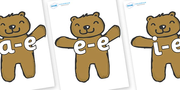 Modifying E Letters on Teddy Bears - Modifying E, letters, modify, Phase 5, Phase five, alternative spellings for phonemes, DfES letters and Sounds