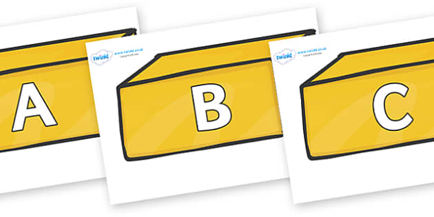 A-Z Alphabet on Gold Bars - A-Z, A4, display, Alphabet frieze, Display letters, Letter posters, A-Z letters, Alphabet flashcards