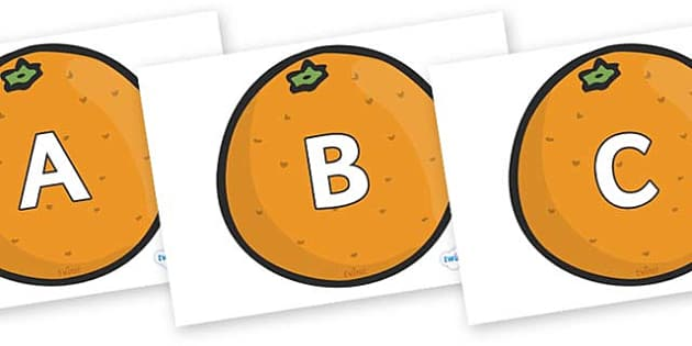 A-Z Alphabet on Oranges - A-Z, A4, display, Alphabet frieze, Display letters, Letter posters, A-Z letters, Alphabet flashcards