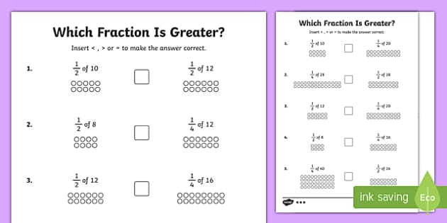 Which Fraction Is Greater? Activity Sheet Pack, worksheet
