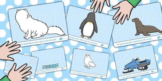 Polar Animals Playdough Mats - polar, playdough mats, animals