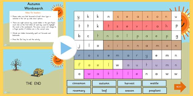 Autumn Interactive Wordsearch PowerPoint - seasons, weather
