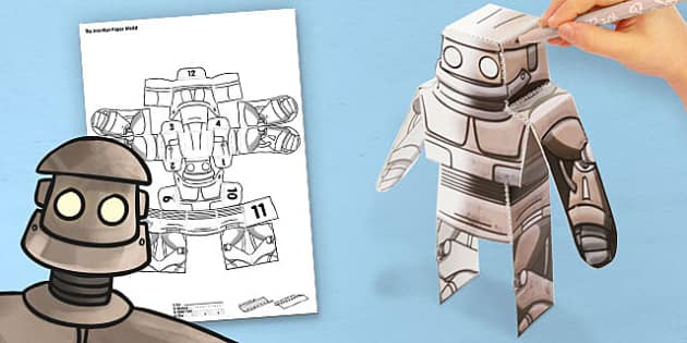 3D Iron Man Paper Model Activity - paper,folding,fold,up,toy,toys,activity,class,colour,color,in,build,display,classroom,room,print,out,cut,printable,fun,model,stand,cube,monster,robot,space,book,cute,role,play,playing,prop,props,drama