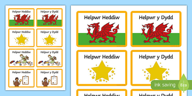 Helpwr Heddiw Badges-Welsh