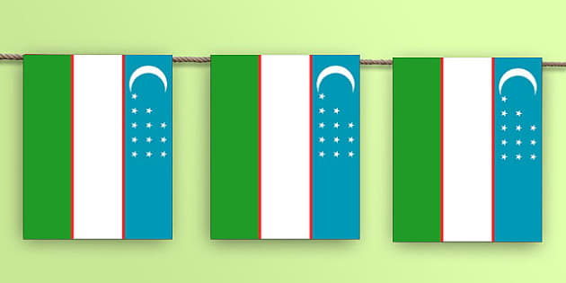Uzbekistan Flag Bunting - Uzbek, asia, world, geography, rio, olympics, countries, country