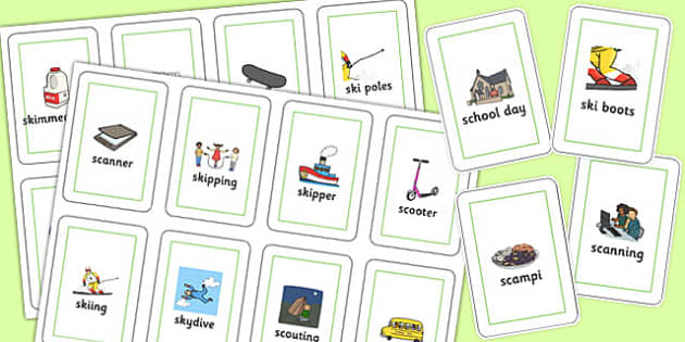 Two Syllable 'SC', 'SK' Flash Cards - sc, sk, sound, flashcards