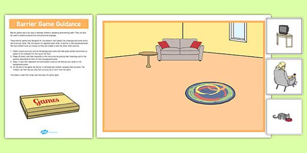 At Home Barrier Game - language development, keywords, expressive skills, receptive skills, SLCN, barrier game, instructions