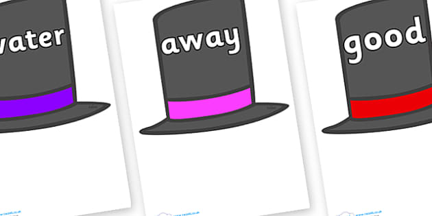 Next 200 Common Words on Top Hats - Next 200 Common Words on  - DfES Letters and Sounds, Letters and Sounds, Letters and sounds words, Common words, 200 common words
