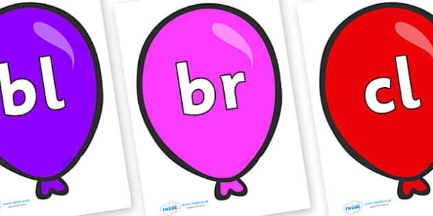 Initial Letter Blends on Party Balloons - Initial Letters, initial letter, letter blend, letter blends, consonant, consonants, digraph, trigraph, literacy, alphabet, letters, foundation stage literacy
