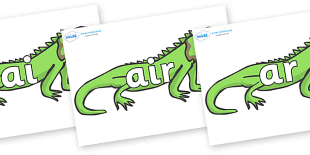Phase 3 Phonemes on Iguanas - Phonemes, phoneme, Phase 3, Phase three, Foundation, Literacy, Letters and Sounds, DfES, display