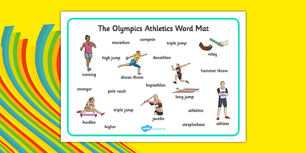 The Olympics Athletics Word Mat - the olympics, athletics, word mat, word, mat