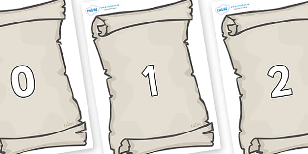 Numbers 0-50 on Scrolls - 0-50, foundation stage numeracy, Number recognition, Number flashcards, counting, number frieze, Display numbers, number posters