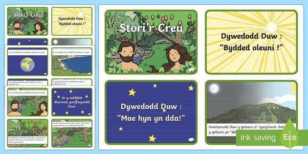 Y Creu Cardiau Lluniau Stori-Welsh - stori, creu, adda, efa, ddaear, dechrau, byd, cristnogaeth, beibl,Welsh