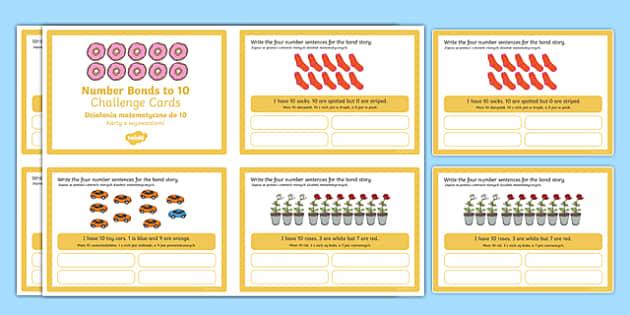 Number Bonds to 10 Stories Challenge Cards Polish Translation-Polish-translation