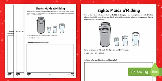 Eight Maids A-Milking Activity Sheets