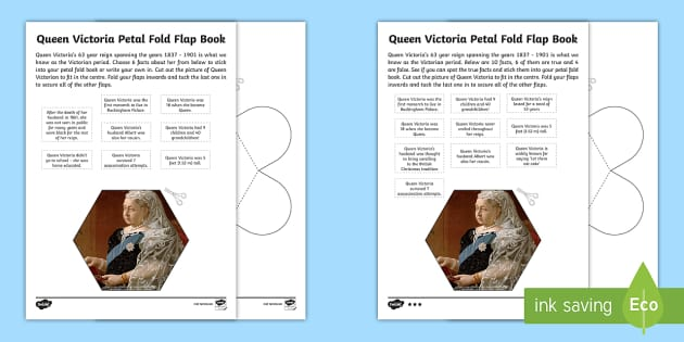 The Victorians Queen Victoria Petal Fold Flap Book - Prince Albert, history, ks2, research, prince, germany, england, royal
