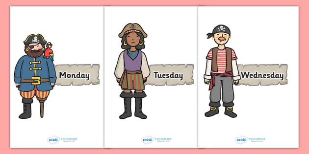 Days of the Week on Pirates - Pirate, Weeks poster, Months display, display, poster, frieze, Days of the week,  pirate, pirates, treasure, ship, jolly roger, ship, island, ocean